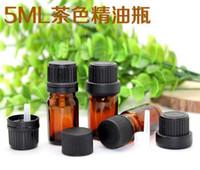 uçucu yağlar aromaterapi için siyah açılan kapak damlalık euro ile Yeni 5ml Küçük Amber Cam şişe Şişeleri Konteynerleri