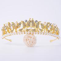 Yaprak Sharps kadın Kafa Altın Saç Takı Boncuklu İnciler Düğün Saç Aksesuarları Headpieces Gelin Saç Dekorasyon