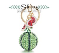 Creative Green Watermelon Ball Pendant Key Chain Ring Metal ...