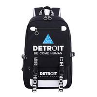 Detroit staje się ludzki płótno plecak mężczyźni kobiet torby podróżują na ramię chłopców dziewcząt torba szkolna dla nastolatków dorywczo torba na laptopa