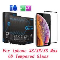 6d Full täckning Skärmskydd Anti-Bubble 9H Hårdhet Skraptbeständigt härdat glas för iPhone XS XR XS Max med detaljhandelspaket