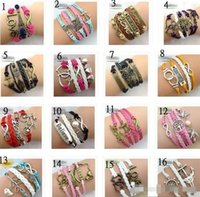 30pcs 283 Designs Leather Bracelet Antique Cross Anchor Love...