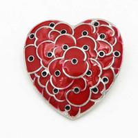 Herzform Rote Mohnblume Broschen Pins Für Frauen Männer Anzug Brosche Jahrestag Abzeichen Emaille Breastpin UK Legion Remembrance Day Anstecknadeln