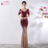 Short Sleeve Sequined Evening Dresses Mermaid Sparkly Beaded...