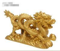 """KiWarm Classic 6,3 """"Chinesische Geomantie Gold Dragon Figur Statue Ornamente für Glück und Erfolg Dekoration Heim Handwerk"""