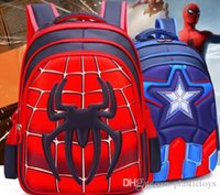 2017. Schoolbag. Pupil. Captain America. Spider- Man Cartoon. ...