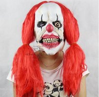 Scary Clown Latex Mask Big Mouth Red Hair Nose Cosplay Full ...