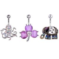 الجراحية الصلب خمر السرة لطيف الفيل البطن زر خاتم أزياء زهرة الأخطبوط bowknot هيئة ثقب السرة مجوهرات