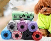 Pet Supplies Dog Poop Väskor Bionedbrytbar Flera Färg för Avfall Scoop Leash Dispenser G229