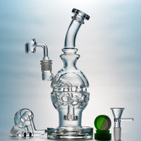 Fab Egg Dab Rigs Bongs de vidrio Pipas de agua con 14mm Cuarzo Banger Honey Bucket Showerhead Perc Waterpipe Recycler Smoking Bong MFE01-3