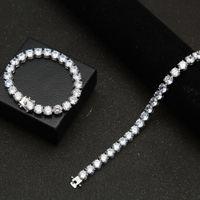 Gioielli 8MM Hip Hop hanno ghiacciato Dorato micro colore argento pavimenta rotonda Tennis braccialetti dei braccialetti per nuziale festa di nozze Cubic Zirconia di cristallo Gif