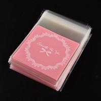 Hot Sale Opp Plast Paketväska Lovely Pink Or Blue Bow Design Cake Presentförpackningar Candy Pack Paper Gratis Frakt GA17