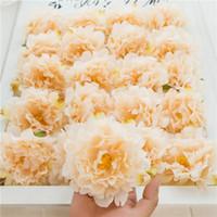 50Pcs Искусственные цветы Шелковый цветок пиона Heads Свадебные украшения Fleurs Artificielles Поддельный головки цветка Главная украшения оптом