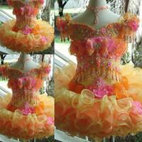 Prenses Toddler Kız Alayı Elbiseler Organze Illusion Balo Renkli Kristaller Cap Kollu Mini Kısa Çiçek Kız Elbise Küçük Çocuklar
