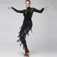 Vestido de baile latino para adultos y niñas Salsa Tango Salón de baile de Chacha Competencia Vestido de baile Malla de costura Manga larga Top + Encaje Borla Pantalones