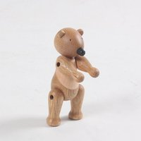 Natural Wooden Bear Doll Figurines Teak Wood Toys Creative A...