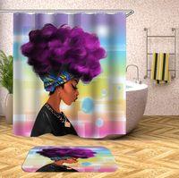 Banheiro à prova d 'água mulher africana Mildewproof cortina de chuveiro tecido de poliéster banheiro decorar cortina personalizado