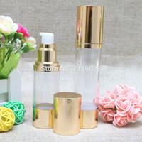 30ml 50 ml Helle Gold hochwertige nachfüllbare Flaschen Tragbare Airless-Pumpspenderflasche für Reise-Lotion 100pcs / lot