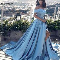 Himmel Blau Muslim Abendkleider A-Line Cap Sleeves Schlitze Sexy Formale Islamische Dubai Kaftan Saudi-arabische lange Abendkleid