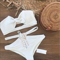 2018 New Bikini Lady Splits Swimsuit White Solid Color Bikin...