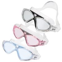 Schwimmbrille Beruf Erwachsener Frauen Männer Schwimmbrille Brillen Antifog Schutz Einstellbare Schwarz / Hellblau