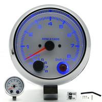 3.75 بوصة 95MM الأبيض مقياس سرعة الدوران RPM قياس مع التحول الداخلي الخفيفة 4 6 8 اسطوانات حافة الكروم