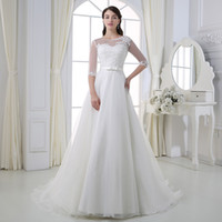 2018 Modest Country Garden 3 4 long sleeves Lace Wedding Dre...