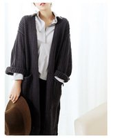 Casual classic coarse knitted big pocket long cardigan outwe...