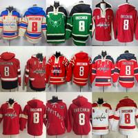 Męskie Kapitały Washington Custom Hockey Bluzy Beżowy Zielony Czerwony Biały 8 Alex Ovechkin 70 Braden Holtby 19 Nicklas Backstrom 77 T.J. Oshie.