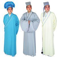 Traje de las óperas chinas Lao Sheng túnica de la ópera de Pekín Taoist de los hombres vestido largo túnica + sombrero intelectual Ropa de los estudiantes en la antigua China