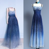Newest Blue Formal star Runway Dresses Spaghetti Full Sequin...