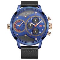 Doble zona horaria de multifunción de cuero de cuarzo resistente al agua 30M reloj de moda 3 hombres de color vestido de reloj al por mayor de los hombres regalos