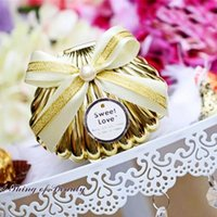 Sweet Love Wedding Favors Gift Plastic Golden Shell Candy Bo...