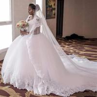 2021 Luxuriöse Kathedrale / Royal Zug Ballkleid Brautkleid V-ausschnitt ärmellose Spitze Vintage Brautkleider Vestido de Novia Casamento