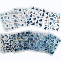 3D Indigo Stickers Dies Decals Nail Sticker Applique Blau Gold Silber 24 Stück gemischt DHL 60SET