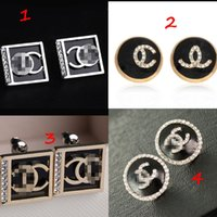 Eur Fashion Geometry Square Round Letters Earrings Crystal E...