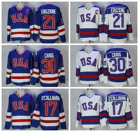 1980 USA Olímpico Hockey Jersey 21 Mike Eruzione 30 Jim Craig 17 Jack O'Callahan Blue Blue Blanco Vintage Jerseys C Parche