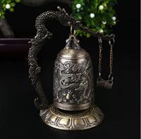 ORAF Decorazione per la casa Cina Buddismo Rame in ottone intagliato Statua di loto Buddha Drago campana Orologio in bronzo buddista campane Artware