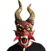 Latex Scary Horn Mask Adult Full Face Costume Horror Zombie ...