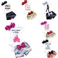 Детские наряды для девочек Письмо младенческие Комплекты Новорожденные Наборы одежды Детский Треугольник Комбинезон + Павелт + Бантики Дрежок 3 шт. Набор C1524