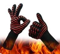 سيليكون قفازات للشواء معزول مطبخ أداة 500 مئوية مقاومة للحرارة قفاز الفرن وعاء حامل شواء الخبز الطبخ قفازات خمسة أصابع مكافحة زلة