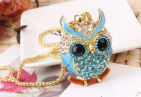 Fashion Owl Crystal Pendant Necklace Prom Jewelry Made with ...