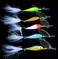 Jig Fish Head Spoon Lure With Feather Hook Rotating Spinner ...