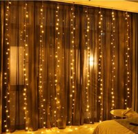220V Curtain Light 3 * 3M LED Strings Festity Festity Hotel Party Party Lights Christmas Backgroud Free
