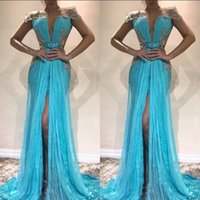 Sky Blue Sexy Evening Dresses Plunging Short Capped Sleeves Tulle And Sequined Prom Gowns Back Zipper Sweep Train Custom Made Formal Dresses