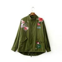 Mujeres Básica Coats Peony Ejército de flores bordado Chaqueta Verde de Verano Streetwear parches del remache de la cremallera retro Parkas