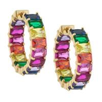 Arco cz aro brinco para as mulheres banhado a ouro praça baguette cubic zirconia colorido multi colorido cz moda feminina jóias