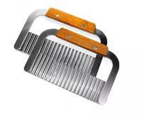 Aço Inoxidável Lidar Com Aço Inoxidável Crinkle Wax Batata Vegetal Soap Cutter Wavy Slicer Chopper Frete Grátis