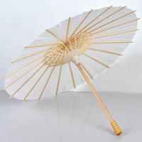 3 PCS Nupcial Do Casamento Parasóis Guarda-chuvas de Papel Branco Mini Ofício Guarda-chuva de Bambu Quadro De Madeira Diâmetro Da Alça 20/30/40/60 Crianças DIY guarda-chuvas