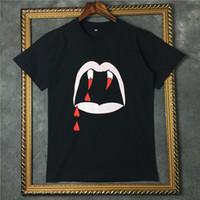 2018 moda de la calle Camiseta con estampado de dientes de sangre verano, hombres camiseta Algodón vampiro Camiseta de manga corta Camisetas